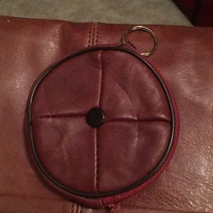 Vintage  leather round coin purse keychain